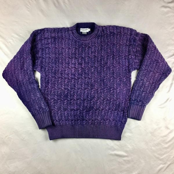 1980s ABERCROMBIE & FITCH 100% COTTON KNIT TEXTURED 2 TONE SWEATER IN PURPLE XL