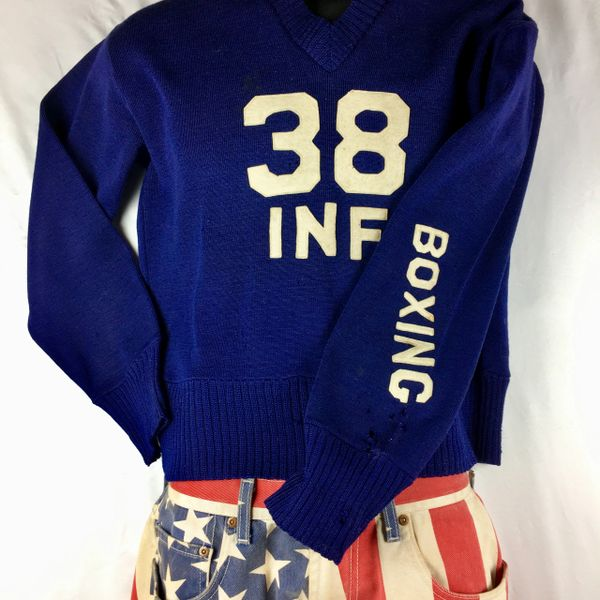 1938 INDIGO MARINE'S INFANTRY BOXING WOOL V-NECK DISTRESSED SWEATER M-L