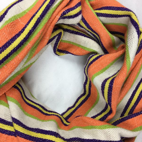 SOLD 1800s GREEN, PURPLE, ORANGE & WHITE STRIPED HANDSPUN HANDWOVEN HAND DYED AFRICAN TEXTILE