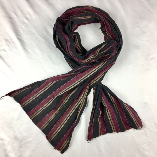 SOLD 1800s LONG WIDE COTTON REDDISH PURPLE, PALE GREEN, BUTTER YELLOW & BLACK STRIPED SCARF