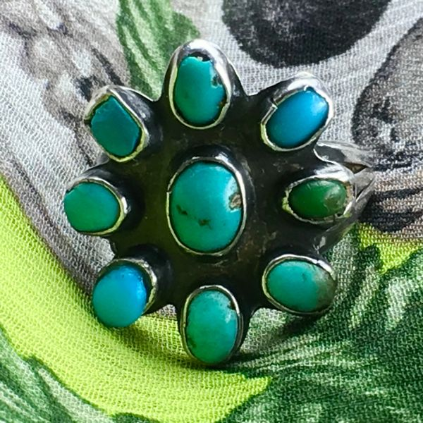 SOLD 1920s BLUE & GREEN TURQUOISE INGOT SILVER FLORAL 9 STONE RING