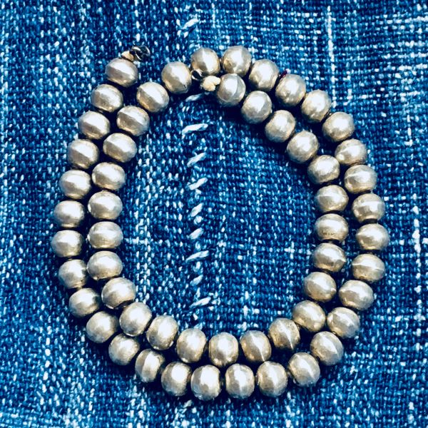 SOLD 1920s SILVER INGOT BENCH BEAD NAVAJO PEAR NECKLACE ON OLD ORIGINAL COTTON CORD