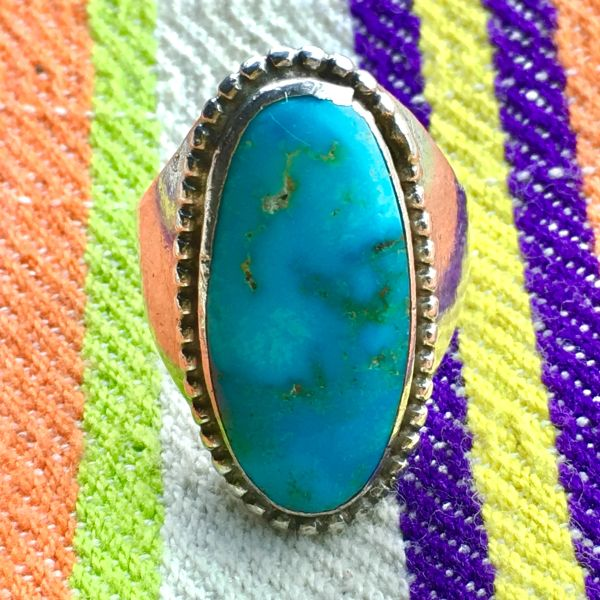 SOLD 1930s SANDCAST SILVER OVAL VIVID BLUE TURQUOISE RING