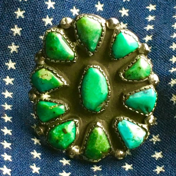1920s MOSTLY GREEN SOME BLUE 11 TURQUOISE STONES WITH HANDCUT BEZELS HUMONGOUS INGOT SILVER RING