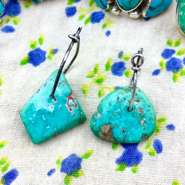 1800s or EARLIER BRIGHT BLUE TURQUOISE TABS ON ATELIER MADE STERLING EARRINGS SET #3