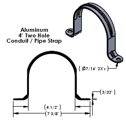 """4 Inch Two Hole Aluminum Strap for use with 3/8"""" Hardware"""