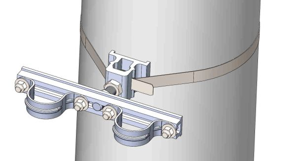 "NW-3QB-.75-10U-1.5XX----Mount two 1.5"" conduits on concrete or steel pole with 3/4"" Stainless Steel banding."
