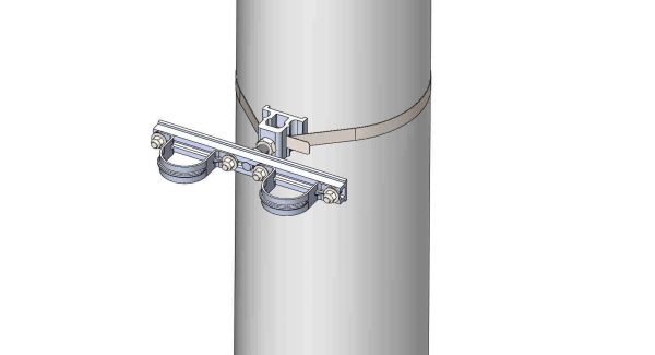 "NW-3QB-.75-11U-2XX----Mount two 2"" conduits on concrete or steel pole with 3/4"" Stainless Steel banding."