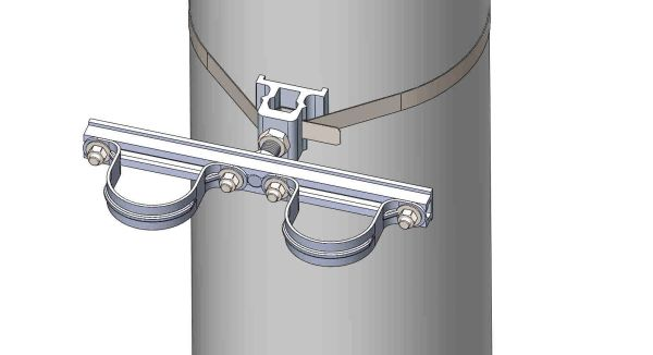 "NW-3QB-.75-12U-2.5XX----Mount two 2.5"" conduits on concrete or steel pole with 3/4"" Stainless Steel banding."
