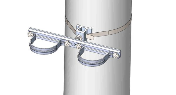 "NW-3QB-.75-15U-3.5XX----Mount two 3.5"" conduits on concrete or steel pole with 3/4"" Stainless Steel banding."