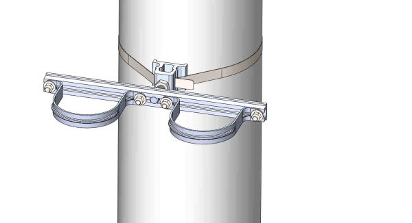 "NW-3QB-.75-16U-4XX-----Mount two 4"" conduits on concrete or steel pole with 3/4"" Stainless Steel banding."
