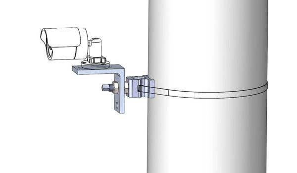 """Security Camera Mount for 1/2"""" Stainless Steel Banding"""