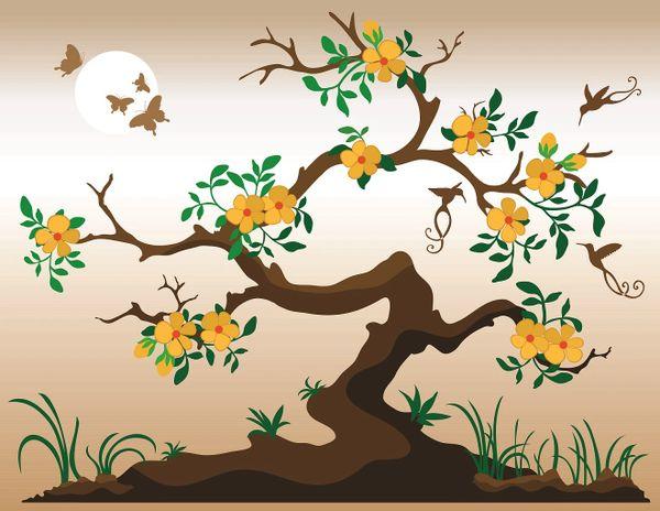 Beautiful Tree Birds Flowers Art Canvas Painting Frameless