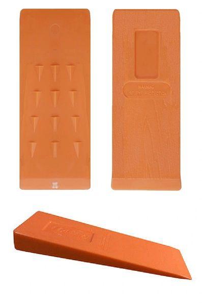 """10"""" Wood Grain/Barbed ABS Orange Plastic Felling Wedge"""