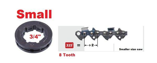 "RIM SPROCKET .325"" pitch 8-tooth, small 3/4"" center 7 spline"