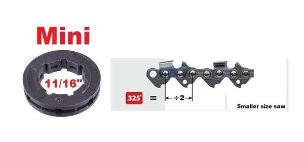 "RIM SPROCKET .325"" pitch 7-tooth, mini 11/16"" center 7 spline"