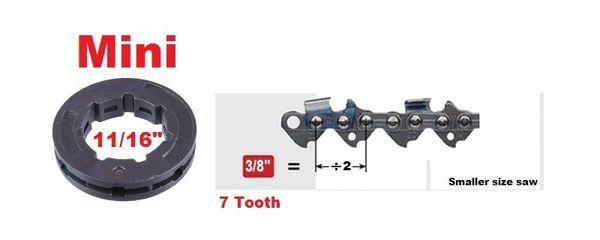 "RIM SPROCKET 3/8"" pitch 7-tooth LP, mini 11/16"" center 7 spline"