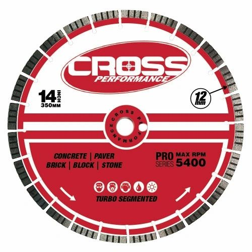 "<>14"" PREMIUM TURBO CROSS PERFORMANCE LASER WELDED DIAMOND SAW BLADE HEAVY USE 0835 090 7008"