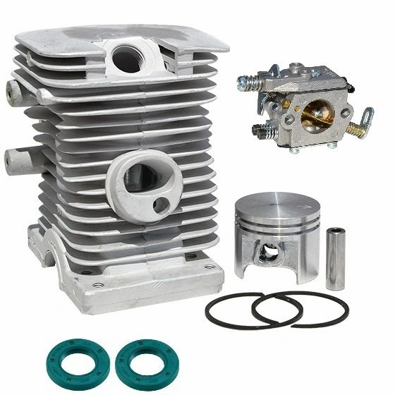 <>STIHL MS170, 017* CYLINDER KIT STANDARD 37MM 8-PIN WITH OIL SEALS AND WALBRO CARBURETOR