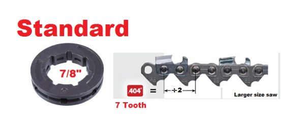 """RIM SPROCKET .404"""" pitch 7-tooth, standard 7/8"""" center 7 spline"""