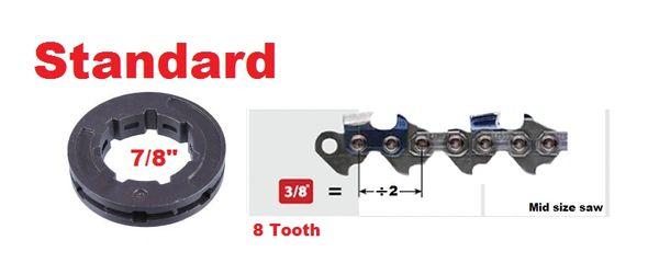 """RIM SPROCKET 3/8"""" pitch 8-tooth, standard 7/8"""" center 7 spline"""