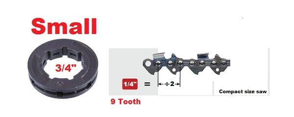 "RIM SPROCKET 1/4"" pitch 9-tooth, small 3/4"" center 7 spline"