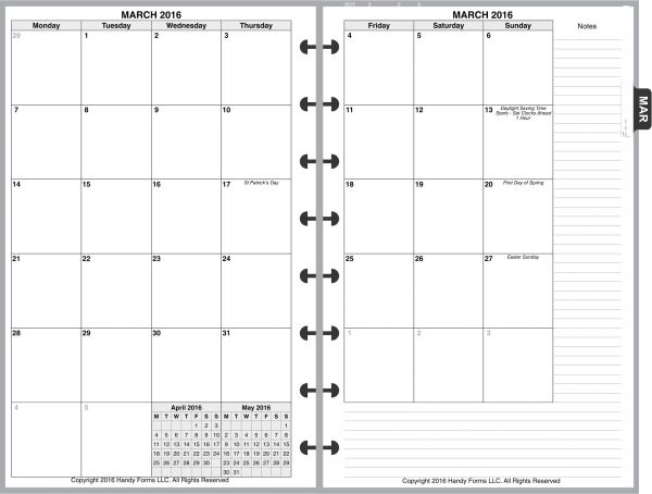 LVJ Monthly Planner, 2 Pages per Month, 7-Columns, No Lines