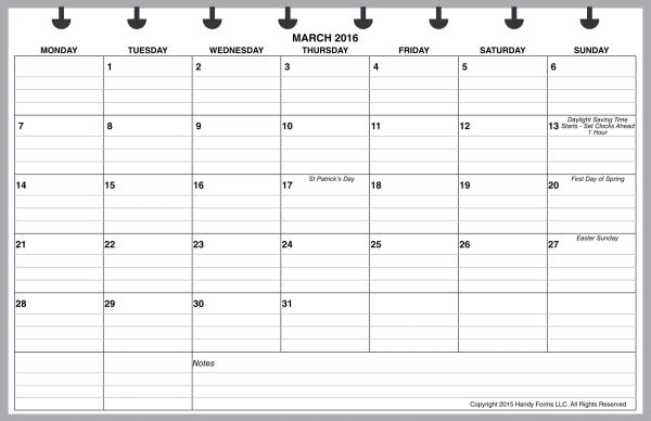 LVJ Monthly Planner, 1 Page per Month, 7 Columns, Horizontal, With Lines