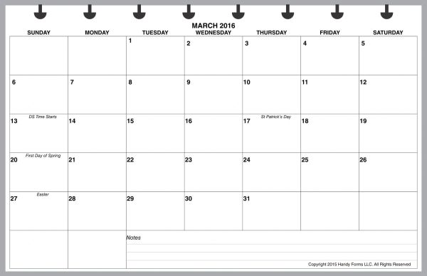 LVJ Monthly Planner, 1 Page per Month, 7 Columns, Horizontal, No Lines