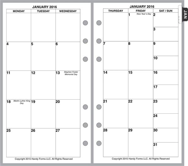 FPL Monthly Planner, 2 Pages per Month, 6-Columns, No Lines