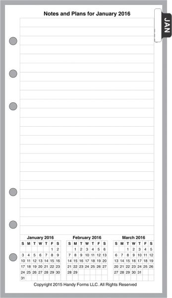 FPL Monthly Planner, 4 Pages per Month, No Lines