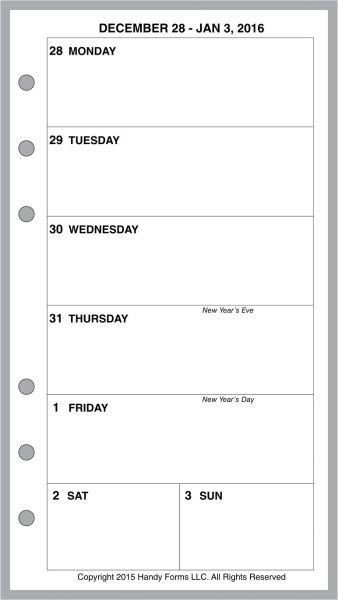 FPL Weekly Planner, 1 Page per Week, 2 Pages per Month, No Lines (Style B)
