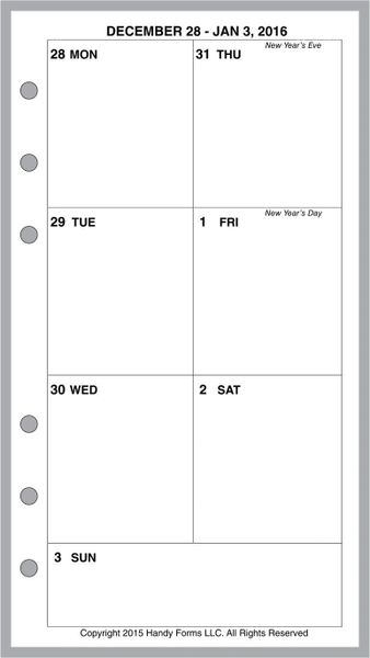 FPL Weekly Planner, 1 Page per Week, 2 Pages per Month, No Lines (Style C)