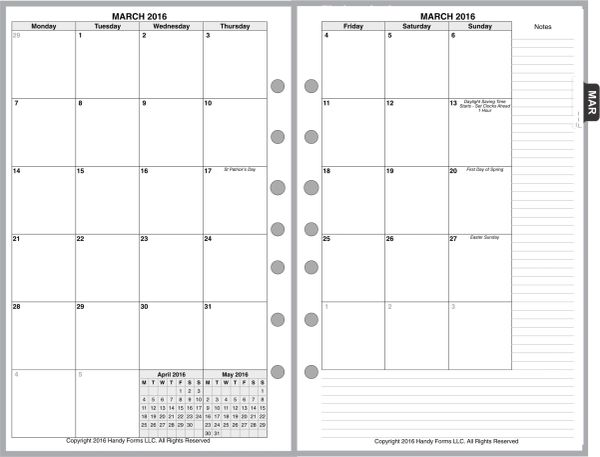 FCS Monthly Planner, 2 Pages per Month, 7-Columns, No Lines