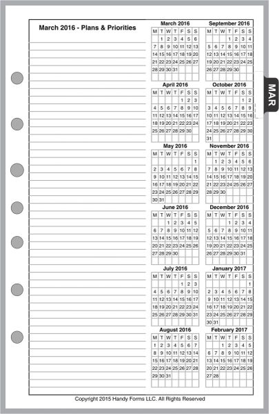 FCS Monthly Planner, 4 Pages per Month, No Lines