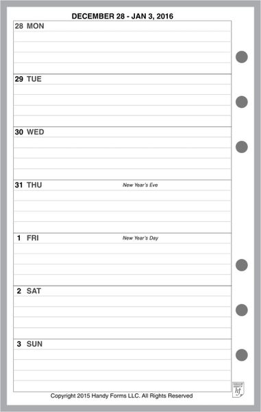 FCC Weekly Planner, 1 Page per Week, 2 Pages per Month, with Lines (Style A)