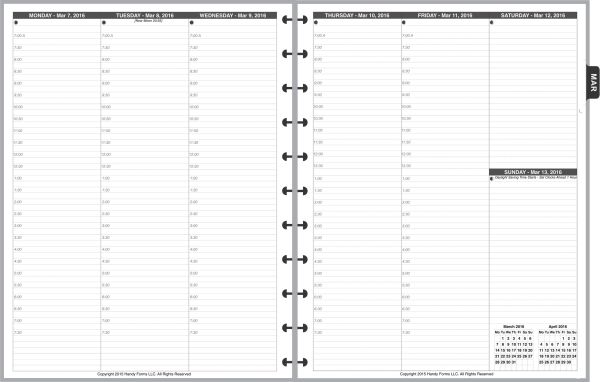 LVL Weekly Planner, 2 Pages per Week Vertical, 2 Pages per Month, with Lines, with Appt Times