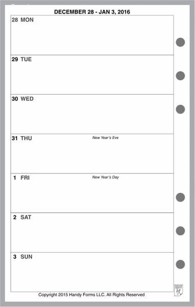 FCC Weekly Planner, 1 Page per Week, 2 Pages per Month, No Lines (Style A)