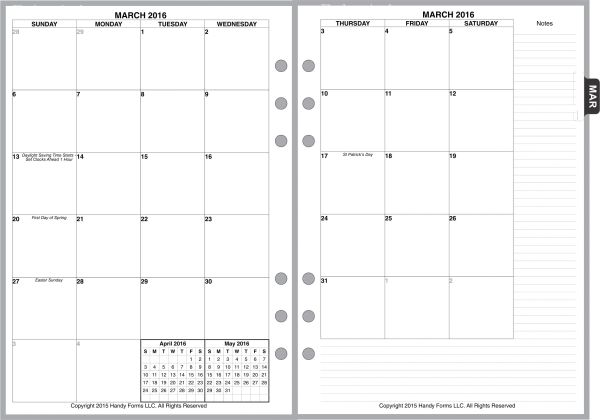 A5 Monthly Planner, 2 Pages per Month, 7-Columns, No Lines