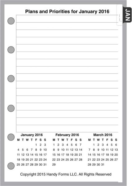 FPK Monthly Planner, 4 Pages per Month, No Lines