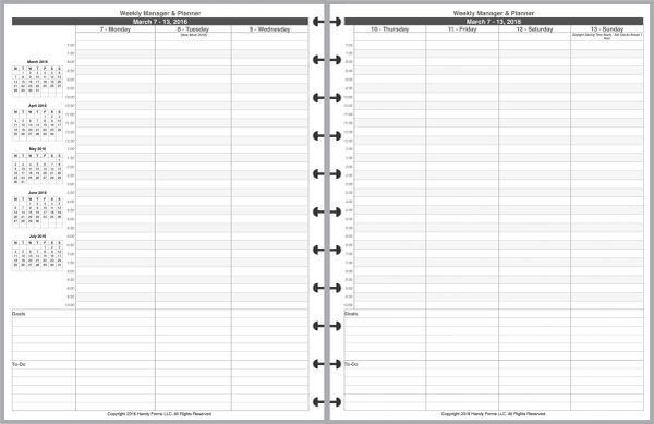 LVL Weekly Planner and Manager, 7am-10pm, 2 Pages per Week, 2 Pages per Month, with Lines
