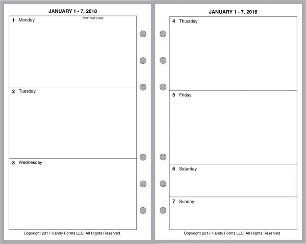 FCC Weekly Planner, 2 Pages per Week, 2 Pages per Month, No Lines, No Appt Times, Style B