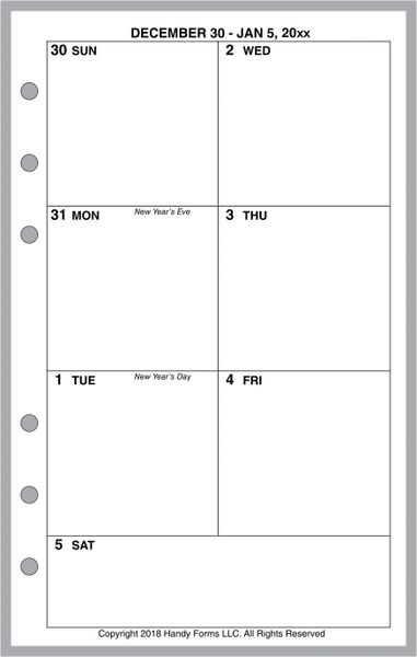 FCC Weekly Planner, 1 Page per Week, 2 Pages per Month, No Lines (Style C)