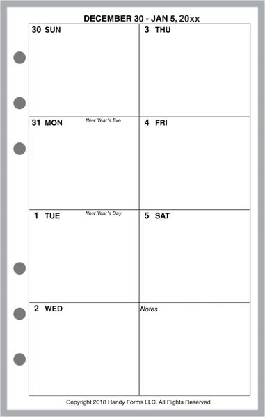 FCC Weekly Planner, 1 Page per Week, 2 Pages per Month, No Lines (Style D)