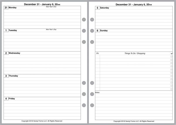 A5 Weekly Planner, 2 Pages per Week, 2 Pages per Month, with Lines. Style D.