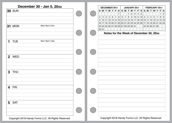 FPK Weekly Planner, 2 Pages per Week, 2 Pages per Month, With Lines (Style E)