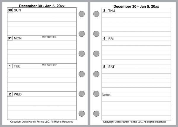 FPK Weekly Planner, 2 Pages per Week, 2 Pages per Month, With Lines (Style A)