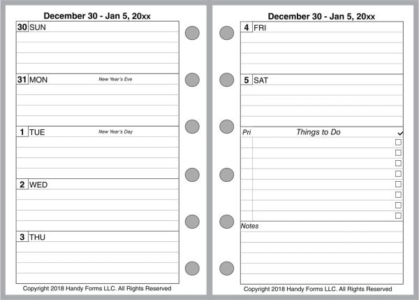 FPK Weekly Planner, 2 Pages per Week, 2 Pages per Month, With Lines (Style D)
