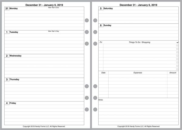 A5 Weekly Planner, 2 Pages per Week, 2 Pages per Month, with Lines. Style C.