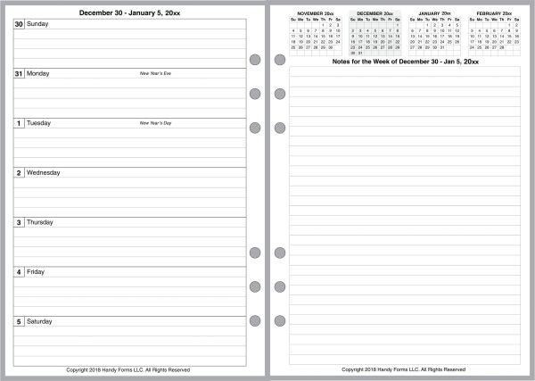 A5 Weekly Planner, 2 Pages per Week, 2 Pages per Month, with Lines. Style E.